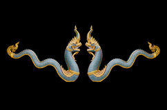 Dragon stucco isolate on a black background Royalty Free Stock Photos