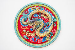 Dragon stucco reliefs in Chinese style Stock Photos