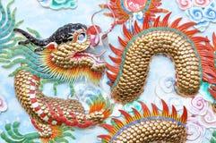 Dragon stucco on wall Royalty Free Stock Photography