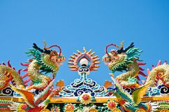 Dragon style chinese on blue sky , lopburi , Thail Royalty Free Stock Photography