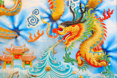 Dragon sur le mur Photo stock