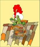 Dragon sur le toit Photo stock