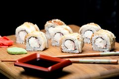 Dragon sushi roll with eel and cream cheese. Royalty Free Stock Image