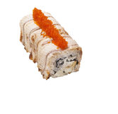 Dragon sushi roll isolated on white Royalty Free Stock Images