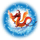 Dragon_ symbol_ 2012. Abstract dragon symbolizing the year 2012 leap terms of halftone royalty free illustration