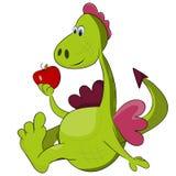 Dragon - symbol 2012. Cartoon dragon with red apple - symbol 2012 Stock Photo