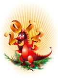 Dragon_ symbol 2012_. Abstract dragon symbolized year 2012 with numeral on hand vector illustration