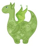 Dragon symbol of East New Years. Symbol of holiday East New year of the Dragon, with a green floral pattern vector illustration