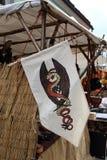 Dragon symbol. A dragon symbol on a medieval flag royalty free stock photography