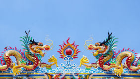 The Dragon. Is the symbol of power. Generality any kind of art decorated in Buddhist church, temple pavilion, temple hall, monk's house etc. created with money Stock Images