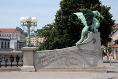 Dragon - symbol of the Slovenian capital in Ljubljana Stock Images