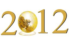 Dragon symbol of the year 2012 isolated on a white. Background Royalty Free Stock Photos