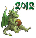 Dragon, symbol of the year. Funny cartoon dragon, symbol of 2012 year, holding pot with golden coins, vector illustration Stock Photography