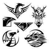 Dragon Symbols. 6 different dragon symbols. Vector EPS10 file Royalty Free Stock Photos