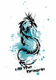 Dragon t-shirt print. Tatoo theme illustration stock illustration