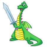 Dragon Tale sword cartoon illustration Royalty Free Stock Images