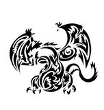 Dragon tatoo Tribal  on white backround Stock Images
