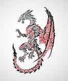 Dragon Tattoo 2. Fantasy dragon tribal tatto illustration Royalty Free Stock Image