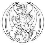 Dragon Tattoo Design. A tattoo dragon illustration design in a circle shape Royalty Free Stock Photography