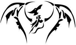 Dragon tattoo in black isolated Royalty Free Stock Photos