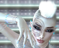 Dragon tattoo sci fi girl with futuristic outfit, Mohawk hairstyle and glowing abstract background. A white backdrop with glowing light effect enhances this Royalty Free Illustration
