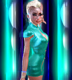 Dragon tattoo sci fi girl with futuristic outfit, Mohawk hairstyle and glowing abstract background. A white, turquoise and blue backdrop with glowing light Royalty Free Illustration
