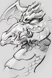 Dragon, Tattoo sketch, handmade design over vintage paper royalty free stock photography