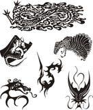 Dragon Tattoos Set Royalty Free Stock Photos