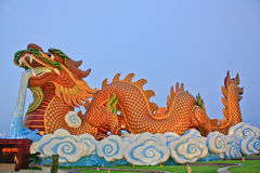 Dragon and temple. In thailand Stock Photos