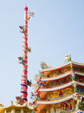 Dragon temple. The Chinese style of colorful temple and  spiralling dragons Stock Photography