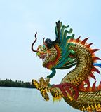 Dragon in temple near river Stock Image