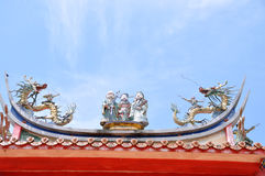 Dragon temple roof Royalty Free Stock Photography