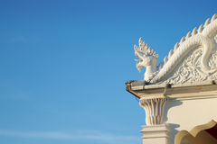 Dragon temple. Roof temple in thailand has dragon statue Royalty Free Stock Photography