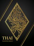Dragon Thai art element Traditional design gold for greeting cards,cover Stock Photo
