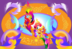 Dragon thai colourful. Thailand Thailand dragon graphic pattern with the colors of the rainbow striped Thailand Royalty Free Stock Image