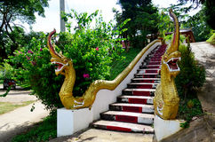 Dragon thai style or Naka at staircase for entrance at Wat Thamm Royalty Free Stock Images