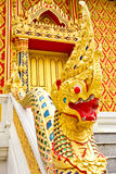 Dragon at Thai temple. Dragon or called Naka in Thai at the walk way to main pavilion of the temple Royalty Free Stock Photos