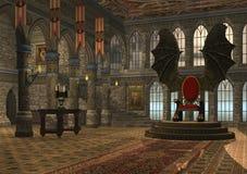 Dragon throne. 3D rendered fantasy dragon throne hall illustration Stock Image