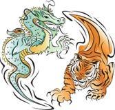 Tiger and Dragon Battle vector illustration