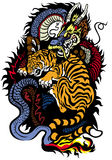 Dragon and tiger fighting Stock Image