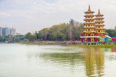Dragon And Tiger Pagoda with mist Royalty Free Stock Photos