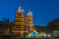 Dragon and Tiger Pagodas famous building in southern Taiwan at night, Kaohsiung, Taiwan royalty free stock images