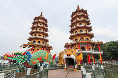 Dragon And Tiger Pagodas at Lotus Pond, Kaohsiung, Taiwan Royalty Free Stock Photos