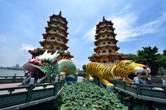Dragon and Tiger Pagodas Stock Photos