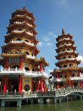 Dragon and Tiger Pagodas in Taiwan Royalty Free Stock Images