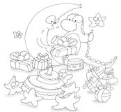 Dragon to open his birthday gifts with the moon beyond chine coloring for kids. Dragon to open his birthday gifts with the moon beyond Stock Images