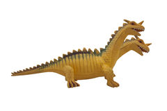 Dragon toy photo. Isolated two-headed dragon toy profile view photo Stock Images