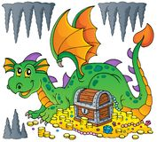 Dragon with treasure theme image 1 Royalty Free Stock Image