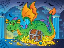 Dragon with treasure theme image 2 Royalty Free Stock Image