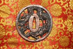Dragon Tsuba arkivbilder